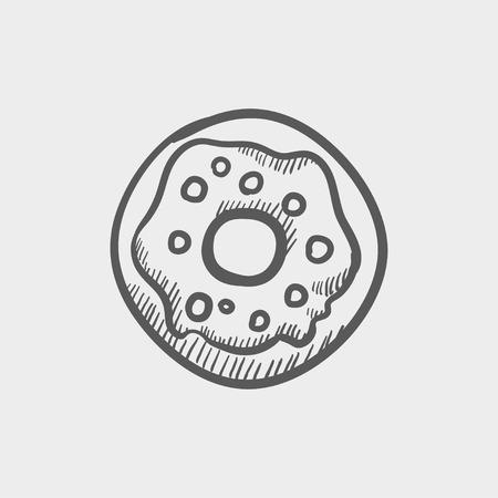 Web とモバイルのドーナツ スケッチ アイコン。手は、ライトグレーの背景でベクトル暗い灰色のアイコンを描画します。