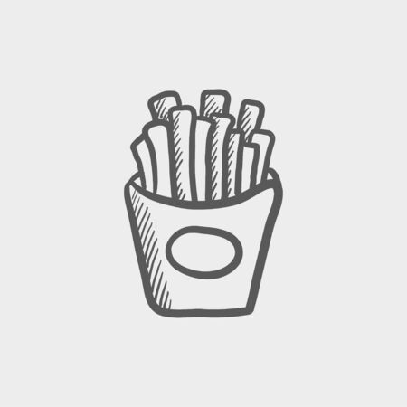 French fries sketch icon for web and mobile. Hand drawn vector dark grey icon on light grey background. Illustration