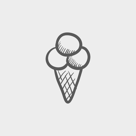 Ice cream sketch icon for web and mobile. Hand drawn vector dark grey icon on light grey background.