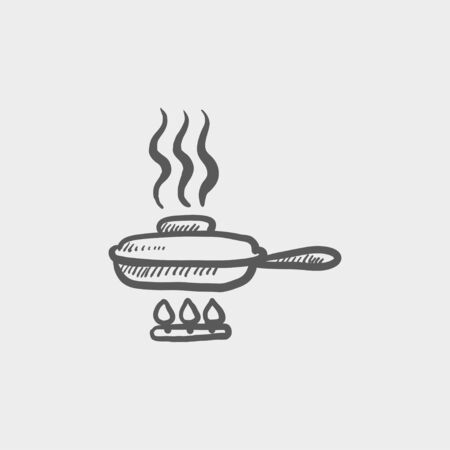 skillet: Frying pan with cover sketch icon for web and mobile. Hand drawn vector dark grey icon on light grey background.
