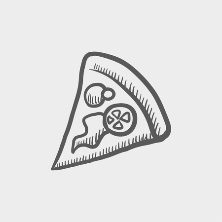 Pizza slice sketch icon for web and mobile. Hand drawn vector dark grey icon on light grey background.