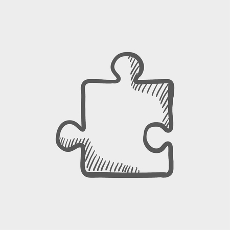 version: Jigsaw puzzle sketch icon for web and mobile. Hand drawn vector dark grey icon on light grey background.