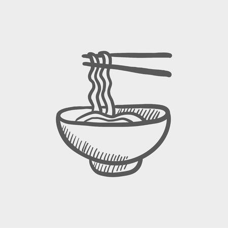 Kom noedels met een paar eetstokjes schets pictogram voor web en mobiel. Hand getrokken vector donkergrijs pictogram op lichtgrijze achtergrond. Stock Illustratie