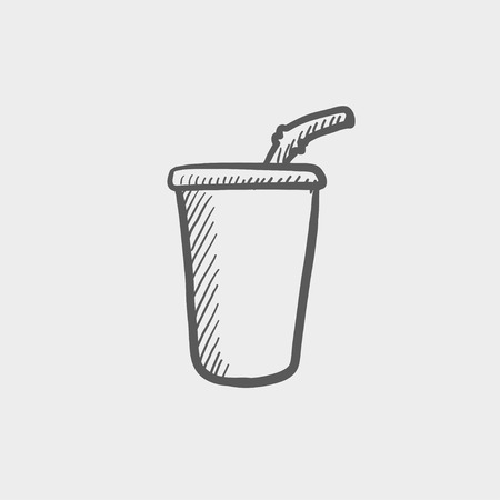 cold drinks: Disposable cup with lid and straw sketch icon for web and mobile. Hand drawn vector dark grey icon on light grey background.