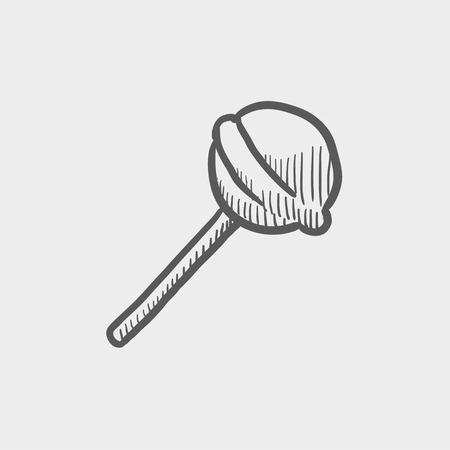 licking in isolated: Round lollipop sketch icon for web and mobile. Hand drawn vector dark grey icon on light grey background. Illustration