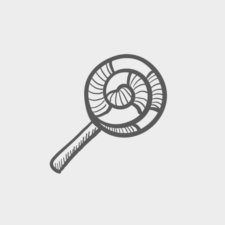Spiral lollipop sketch icon for web and mobile. Hand drawn vector dark grey icon on light grey background. Illustration