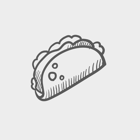 Taco sketch icon for web and mobile. Hand drawn vector dark grey icon on light grey background. Illustration
