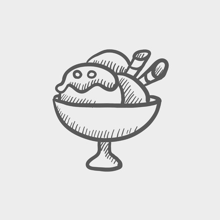 Ice cream on cup sketch icon for web and mobile. Hand drawn vector dark grey icon on light grey background. Ilustração