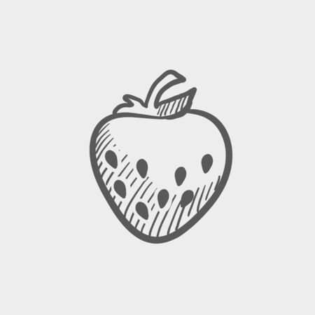 palatable: Strawberry sketch icon for web and mobile. Hand drawn vector dark grey icon on light grey background. Illustration