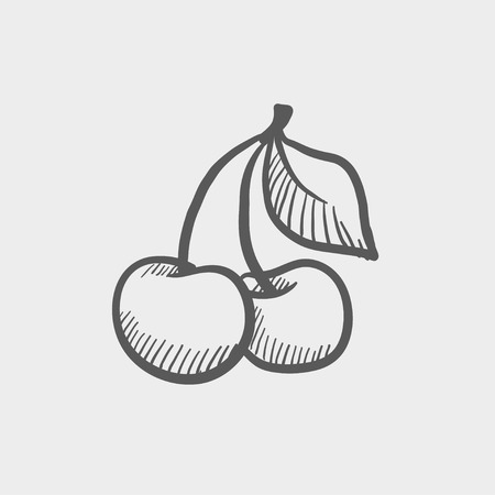 Cherry sketch icon for web and mobile. Hand drawn vector dark grey icon on light grey background.