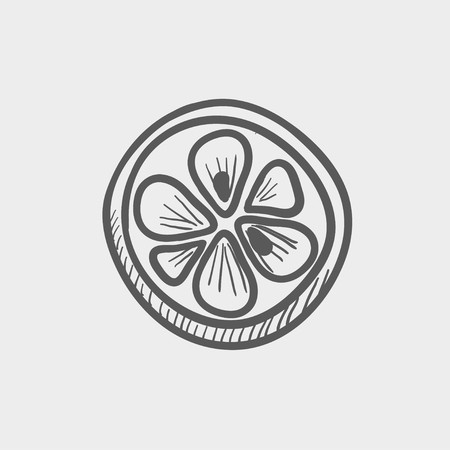 fruited: Slice of lemon sketch icon for web and mobile. Hand drawn vector dark grey icon on light grey background.