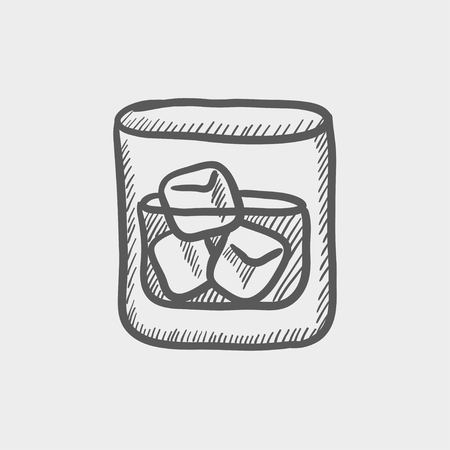 gulp: Glass of water with ice sketch icon for web and mobile. Hand drawn vector dark grey icon on light grey background.