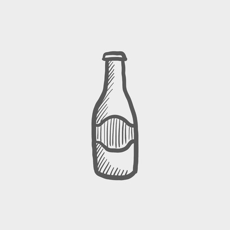 cold drinks: Light beer bottle sketch icon for web and mobile. Hand drawn vector dark grey icon on light grey background.
