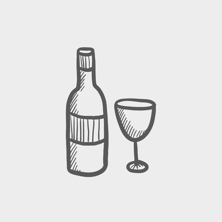 bourbon whisky: Bottle of whiskey and a glass sketch icon for web and mobile. Hand drawn vector dark grey icon on light grey background. Illustration