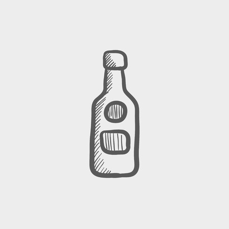 whisky bottle: Bottle of whisky sketch icon for web and mobile. Hand drawn vector dark grey icon on light grey background. Illustration