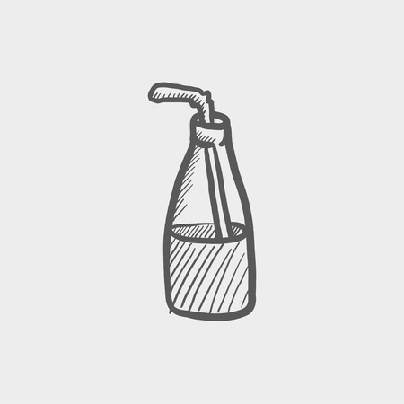 cold drinks: Bottle of milk with straw sketch icon for web and mobile. Hand drawn vector dark grey icon on light grey background.