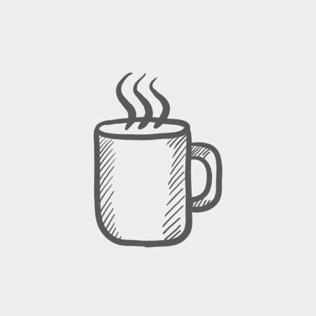 choco: Mug of hot choco sketch icon for web and mobile. Hand drawn vector dark grey icon on light grey background.