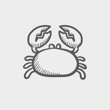crabby: Crab sketch icon for web and mobile. Hand drawn vector dark grey icon on light grey background.