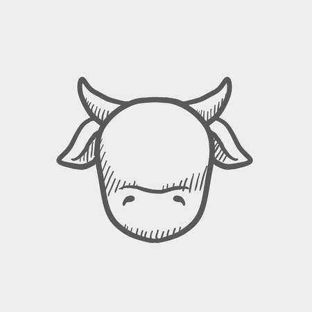 cow head: Cow head sketch icon for web and mobile. Hand drawn vector dark grey icon on light grey background.