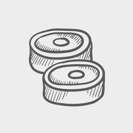 Pork steak sketch icon for web and mobile. Hand drawn vector dark grey icon on light grey background.