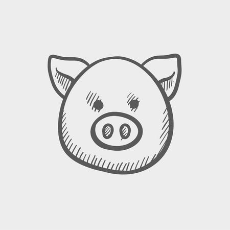 animal idiot: Pig face sketch icon for web and mobile. Hand drawn vector dark grey icon on light grey background.