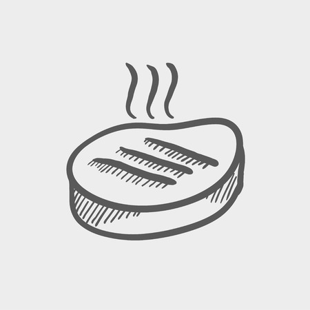 roast lamb: Grilled steak sketch icon for web and mobile. Hand drawn vector dark grey icon on light grey background.