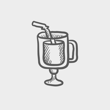 lime juice: Lime juice sketch icon for web and mobile. Hand drawn vector dark grey icon on light grey background.