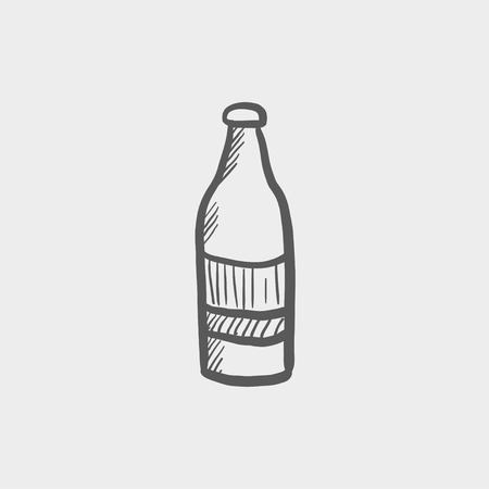 carbonated beverage: Soda bottle sketch icon for web and mobile. Hand drawn vector dark grey icon on light grey background. Illustration