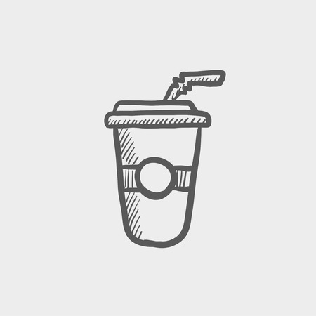 plastic straw: Soda in plastic cup with straw sketch icon for web and mobile. Hand drawn vector dark grey icon on light grey background.