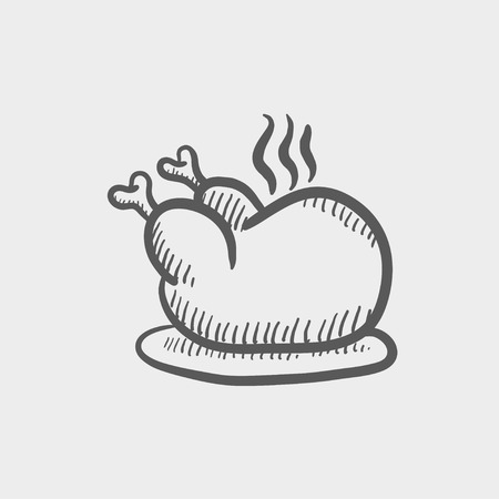 whole chicken: Baked whole chicken sketch icon for web and mobile. Hand drawn vector dark grey icon on light grey background.