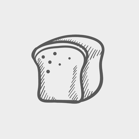 wholemeal: Small sized loaf bread sketch icon for web and mobile. Hand drawn vector dark grey icon on light grey background.