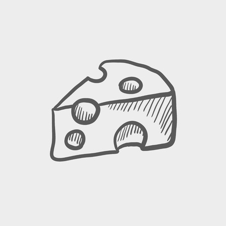 Sliced of cheese sketch icon for web and mobile. Hand drawn vector dark grey icon on light grey background.