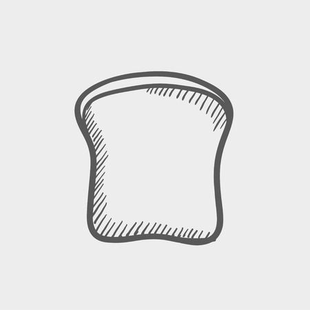 french toast: Single slice of bread sketch icon for web and mobile. Hand drawn vector dark grey icon on light grey background.