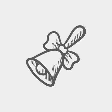 golden ribbon: School bell with ribbon sketch icon for web and mobile. Hand drawn vector dark grey icon on light grey background.