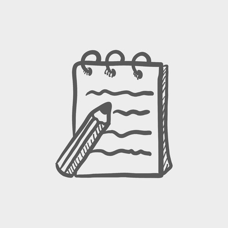 Writing pad and pen sketch icon for web and mobile. Hand drawn vector dark grey icon on light grey background. Illustration