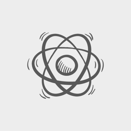 fission: Atom sketch icon for web and mobile. Hand drawn vector dark grey icon on light grey background.
