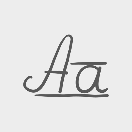 cursive: Cursive letter a sketch icon for web and mobile. Hand drawn vector dark grey icon on light grey background.