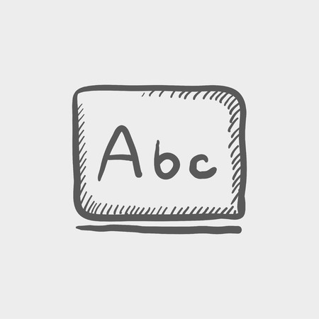 Letters abc in blackboard sketch icon for web and mobile. Hand drawn vector dark grey icon on light grey background.