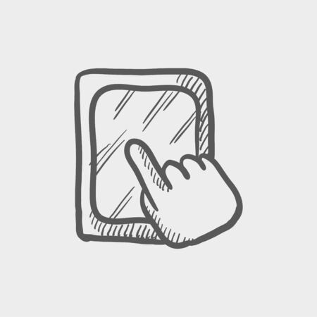cellphone in hand: Tablet touchscreen sketch icon for web and mobile. Hand drawn vector dark grey icon on light grey background.