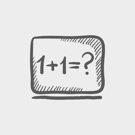 numbers icon: Numbers on the blackboard sketch icon for web and mobile. Hand drawn vector dark grey icon on light grey background.