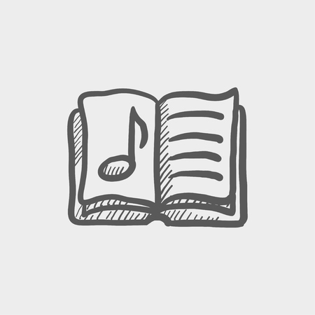 Music book sketch icon for web and mobile. Hand drawn vector dark grey icon on light grey background. Illustration