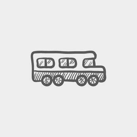 back view student: School bus sketch icon for web and mobile. Hand drawn vector dark grey icon on light grey background. Illustration