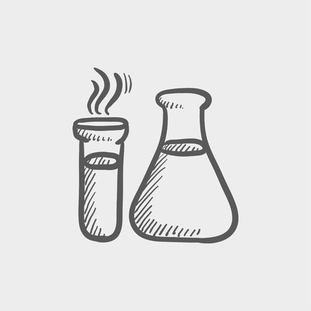 toxic substance: Lab supplies sketch icon for web and mobile. Hand drawn vector dark grey icon on light grey background. Illustration