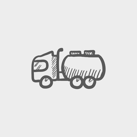 hand truck: Tanker truck sketch icon for web and mobile. Hand drawn vector dark grey icon on light grey background.