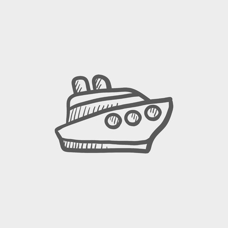 Cruise ship sketch icon for web and mobile. Hand drawn vector dark grey icon on light grey background.