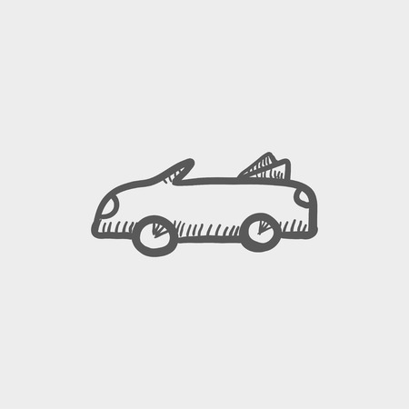 Convertible car sketch icon for web and mobile. Hand drawn vector dark grey icon on light grey background.