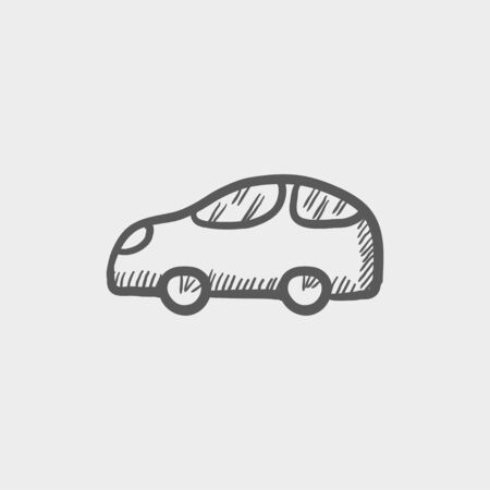 restyled: Car sketch icon for web and mobile. Hand drawn vector dark grey icon on light grey background.