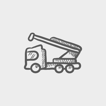 hand truck: Towing truck sketch icon for web and mobile. Hand drawn vector dark grey icon on light grey background.