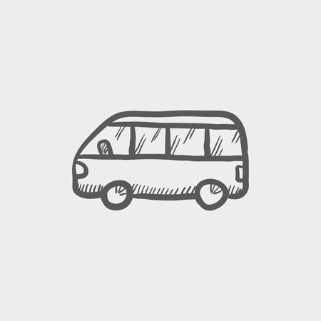 Minibus sketch icon for web and mobile. Hand drawn vector dark grey icon on light grey background.