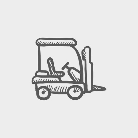 Golf cart sketch icon for web and mobile. Hand drawn vector dark grey icon on light grey background. Stock Illustratie